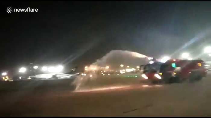 Air India's plane catches fire at Delhi airport during maintenance work