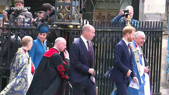 Prince Harry and Duchess of Cambridge attend Anzac Day service in London