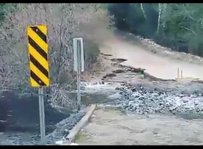 Bridge Washed Out by Flooding in Huntsville, Ontario