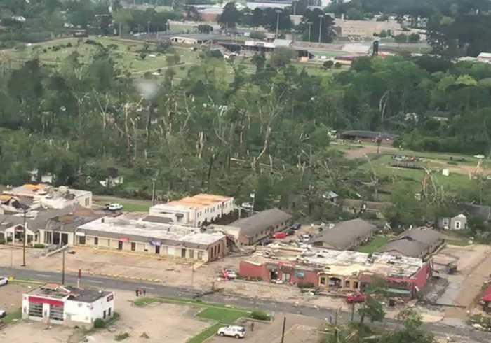 Helicopters Evaluate Damage After Tornado Hits Northern Louisiana