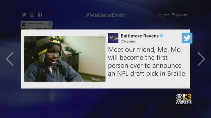 Mo Gaba To Read NFL Draft Pick For Ravens Off Of Braille Card