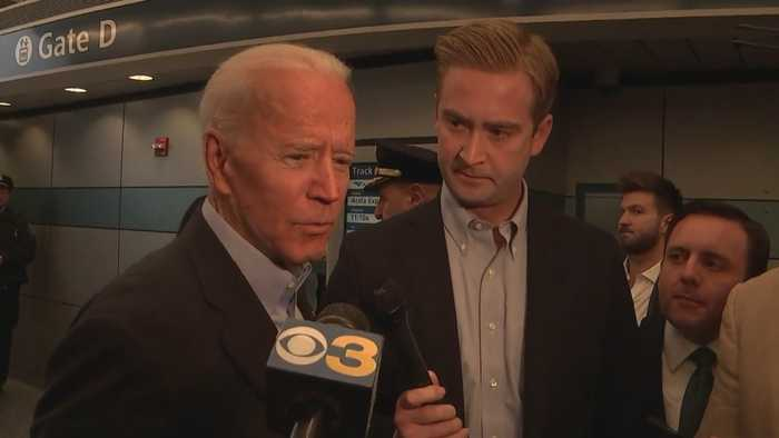 Joe Biden Speaks To Reporters At Amtrak Station After 2020 Announcement