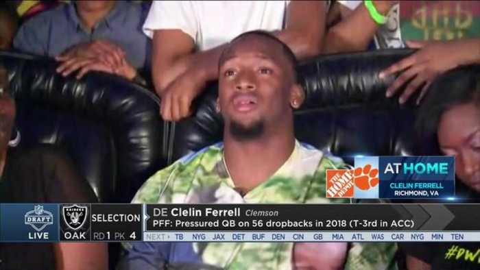 Clemson defensive end Clelin Ferrell celebrates being picked No. 4 at his draft party
