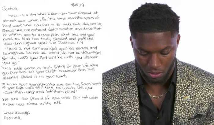 Seattle Seahawks edge rusher Josh Allen reads emotional letter from his mom on draft night