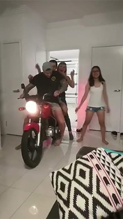 Motorcycle Ride Through the Living Room Fail