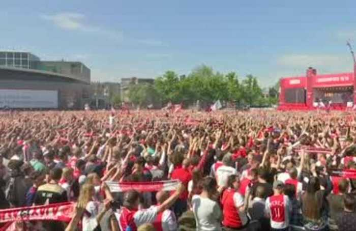 Thousands of Ajax fans celebrate their club's 34th league title