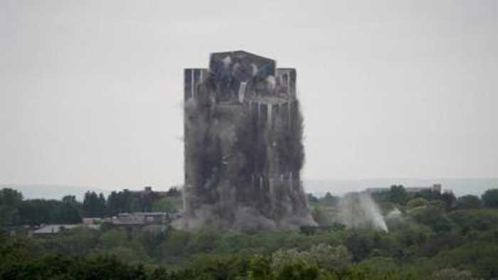The Martin Tower implosion in slow motion