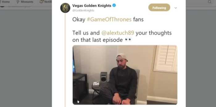 Vegas Golden Knights player reacts to GOT