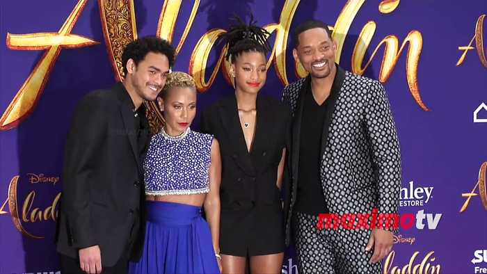 Will Smith is all smiles with wife Jada and daughter Willow at Aladdin world premiere in LA