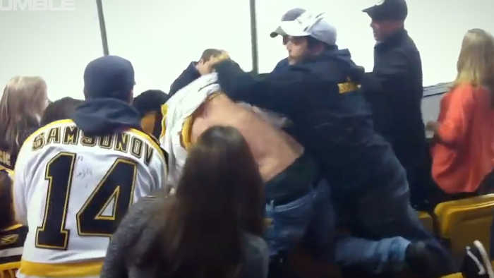 Bruins Fans ATTACK Blues Fans In EPIC Brawl As Blues Fans CHOKE Drunk Bruins Fans!