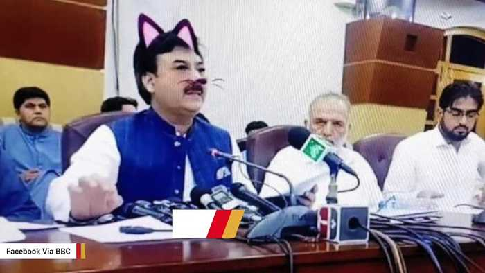 Pakistani Politician Accidentally Gets Cat Filter During Press Conference
