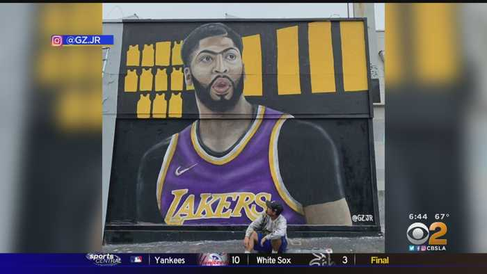 Artist Works Overnight With Mural Welcoming New Lakers Superstar