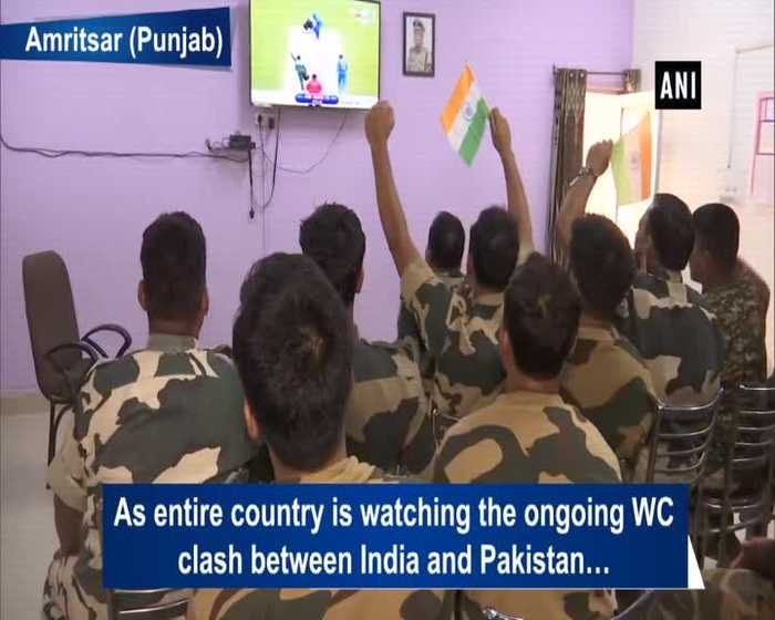 BSF personnel in Amritsar cheer for India against WC clash with Pakistan