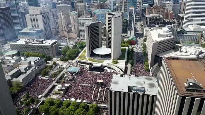 This time lapse footage shows the stampede after the shootings during the Toronto Raptors parade