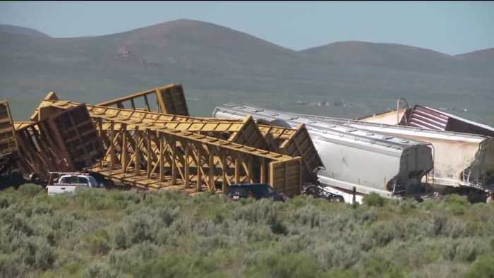 Train derails in Nevada, closes major highway - One News