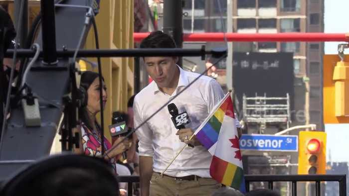 Justin Trudeau spotted at Pride parade in downtown Toronto
