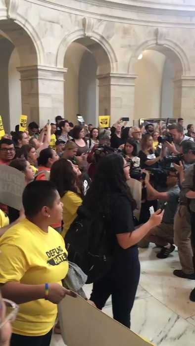Protesters Rally in Senate Office Building to Demand Congress Defund ICE and CBP