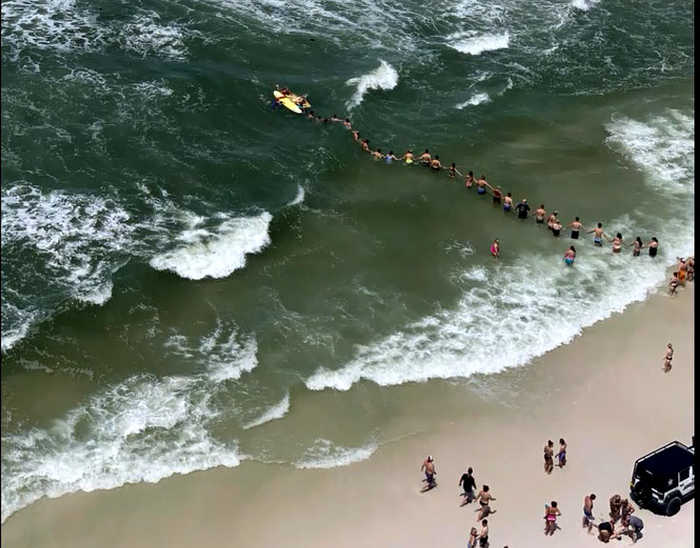 Florida Human Chain Forms To Rescue Swimmers