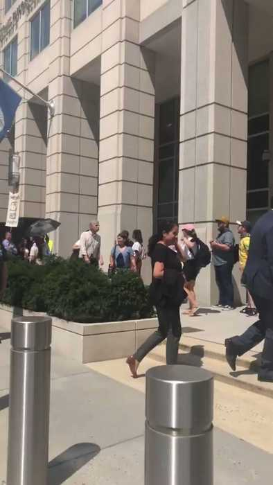 Protesters Chant 'Quit Your Jobs' Outside ICE Headquarters