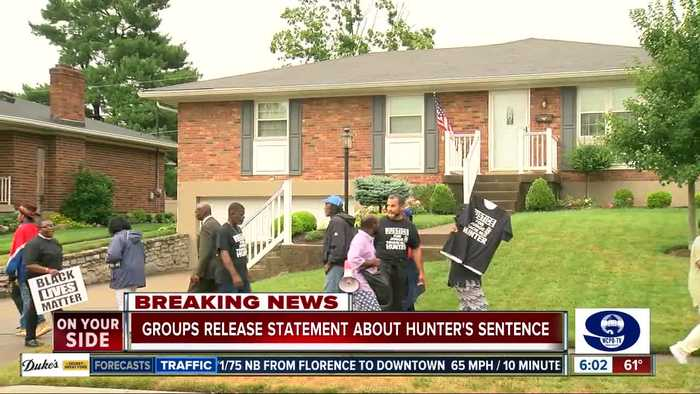 Tracie Hunter supporters gather outside of judge's home