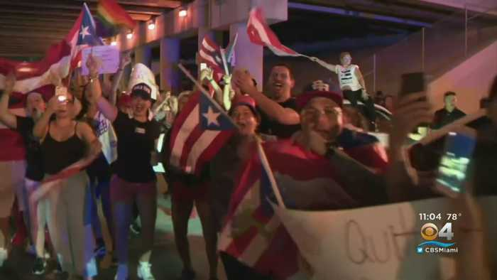 Locals In South Florida Join Mass Protests Pushing For Resignation Of Puerto Rico's Governor