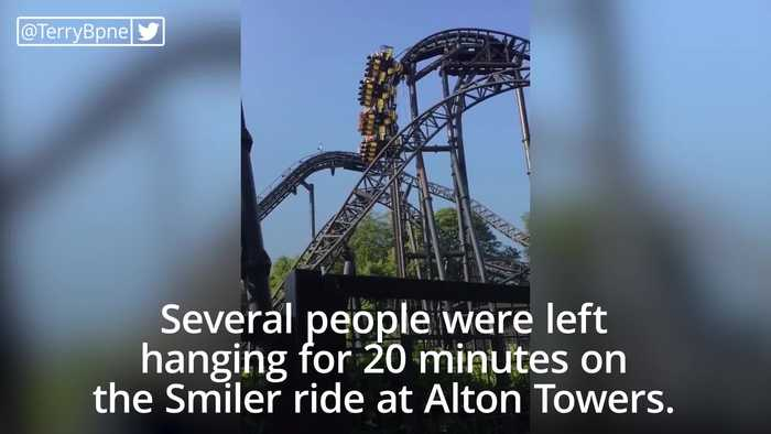 Riders stuck for 20 minutes as Smiler ride stops 100ft in air