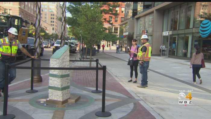 Finishing Touches Put On Boston Marathon Bombings Memorial
