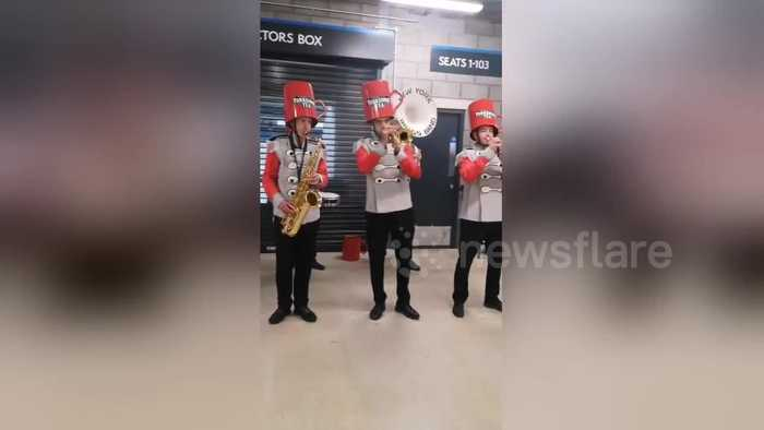 Brass band wearing giant Yorkshire Tea mugs on their heads serenade cricket fans ahead ahead of Ashes Test match