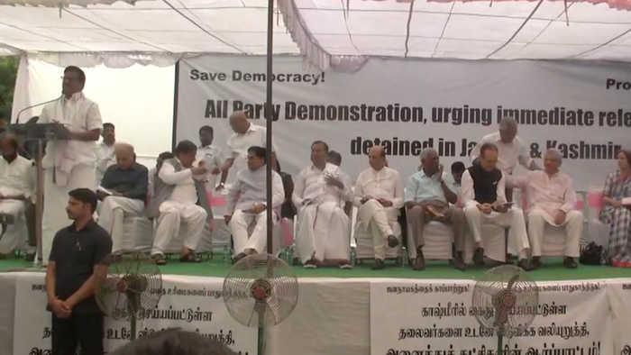 Art 370: Opposition protest on J&K netas' detention, Chidambaram Jr attends