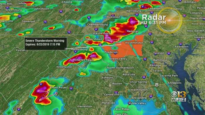 Severe Thunderstorm Warnings Issued West Of Baltimore; Storms Moving To The East