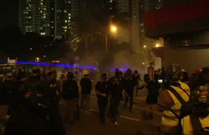 Hong Kong police use tear gas to break up protests