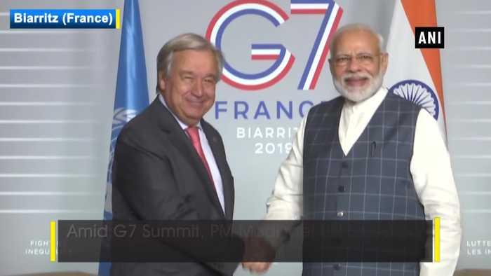 G7 Summit PM Modi meets UN Secretary General Antonio Guterres