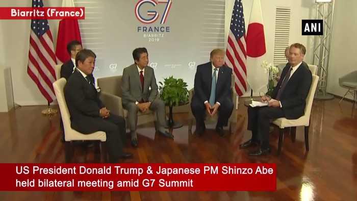 US President Donald Trump meets Japanese PM Shinzo Abe