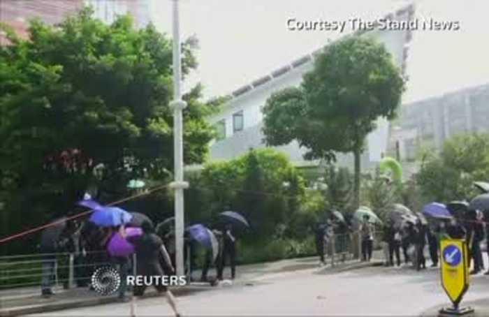 Hong Kong protesters cut down smart lampposts