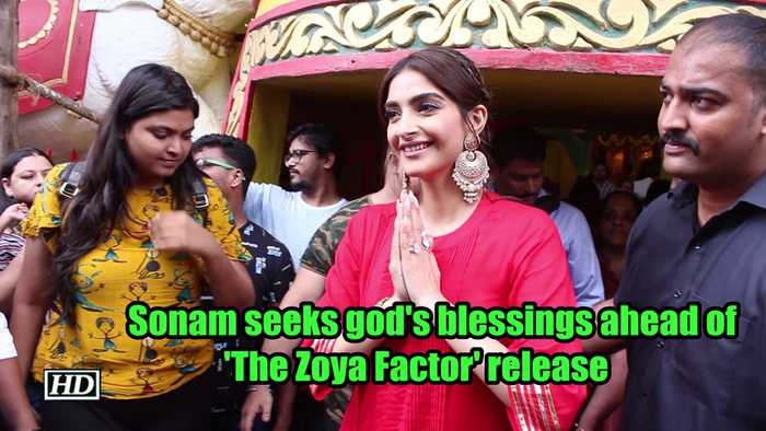 Sonam seeks god's blessings ahead of 'The Zoya Factor' release