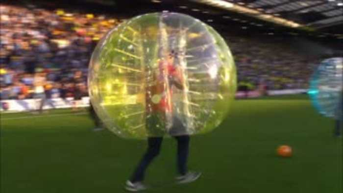 Simon Thomas tries zorb football