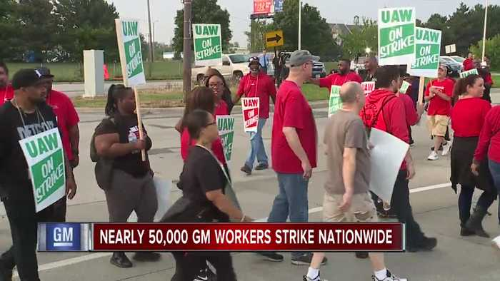 'I feel betrayed.' UAW workers march in front of GM plant for first day of strike