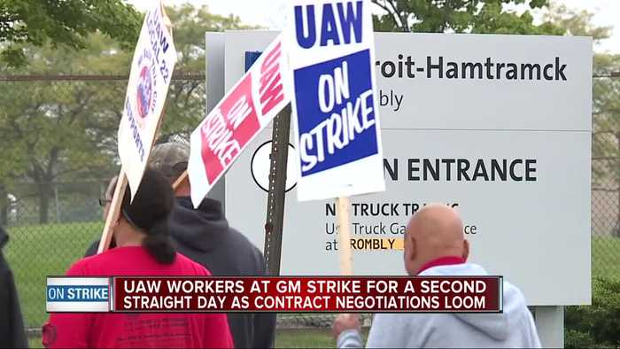 UAW workers at GM strike for second straight day as contract negotiations loom