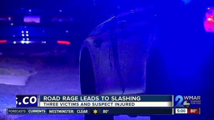 Road rage led to four people being stabbed Monday