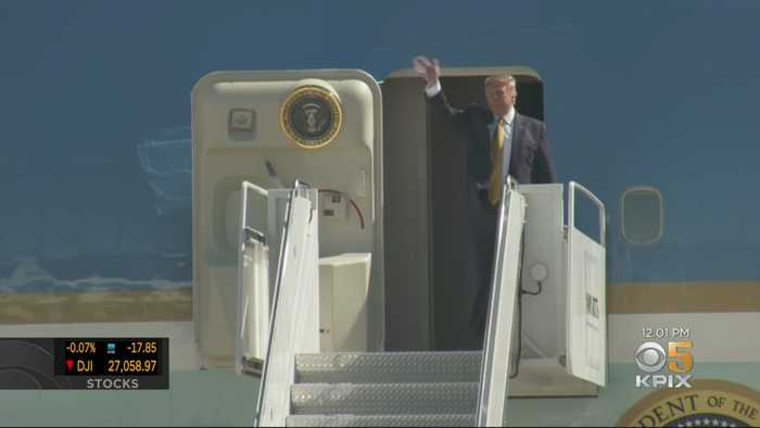 President Trump Lands In Bay Area For Campaign Fundraiser