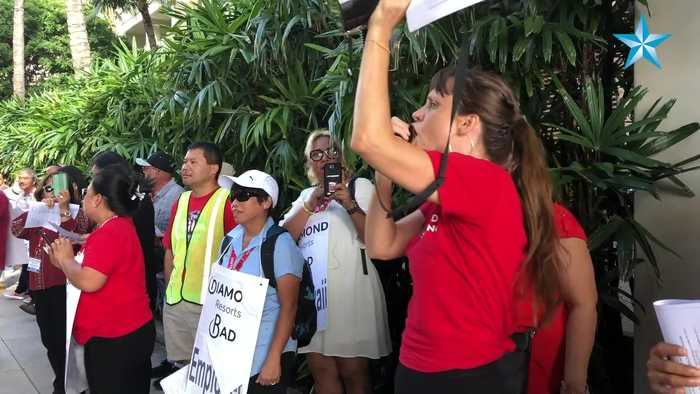 Union workers rally at Modern Honolulu hotel