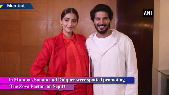 Sonam Kapoor Dulquer Salmaan spotted in Mumbai for The Zoya Factor promotion