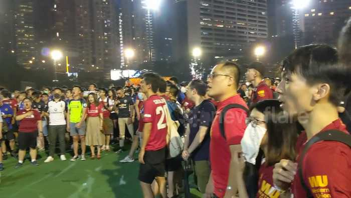 Hong Kong soccer fans sing 'You'll Never Walk Alone' in support of pro-democracy protesters