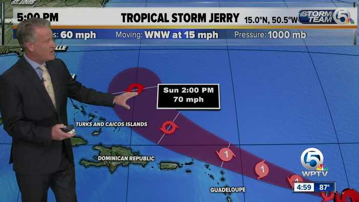 5 p.m. updated on Tropical Storm Jerry