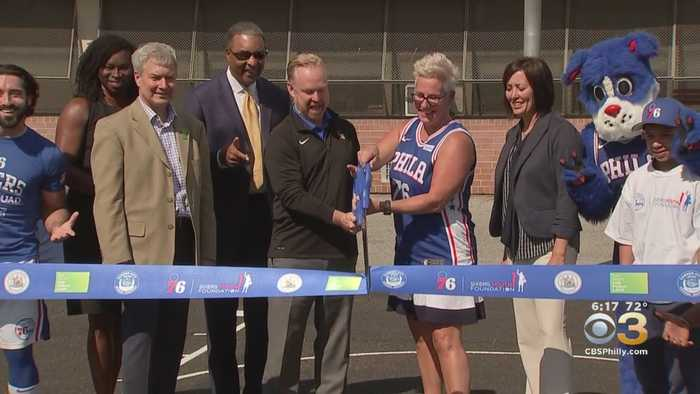 Ribbon Cutting At Revitalized Basketball Court At Camden's Cooper's Poynt Family School