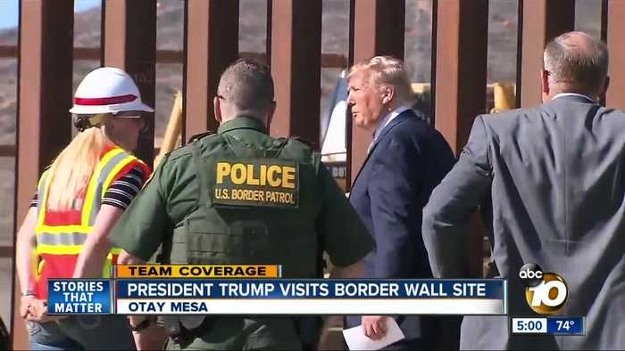 President Trump visits border wall site