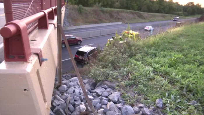 VIDEO Vehicle crashes over embankment in Lower Macungie Township
