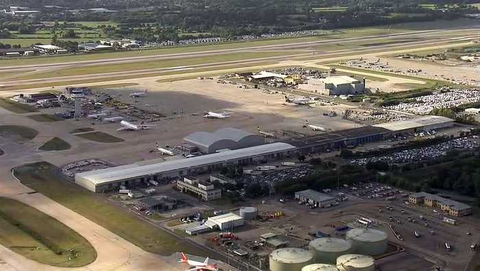 Thomas Cook planes sit idle at Gatwick Airport