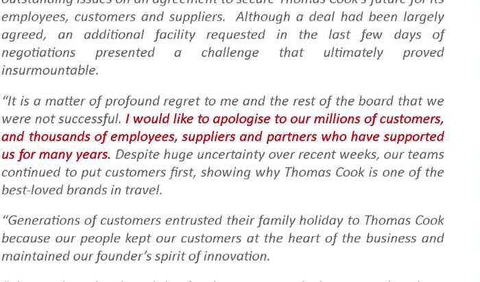Huge repatriation effort after Thomas Cook bankruptcy