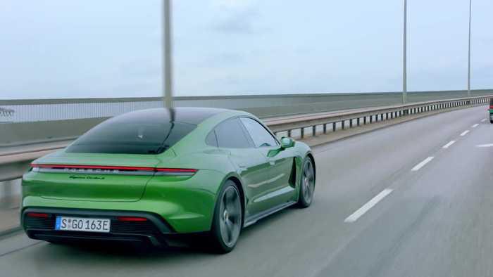 Porsche Taycan Turbo S in Mamba Green Metallic Driving in Hamburg & Kiel